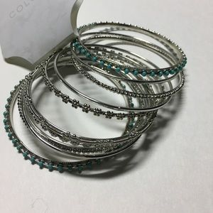 Jewelry - Bangle cluster with green beads